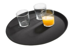 Gastro Tablett Kellnertablett Serviertablett Ø 40,5 cm schwarz Gastlando