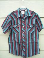 Corral West Ranchwear Mens Western Shirt Sz M Striped Front Snaps Short Sleeve