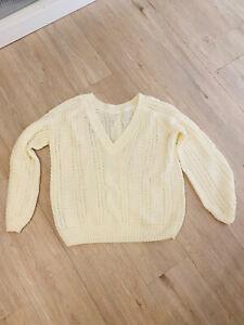 Pullover Damen Vero Moda Größe L Creme V-Ausschnitt Warm