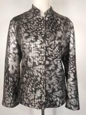 Beautiful Women's Size 2 Chico's Black Silver Scales Design Button Blazer Jacket