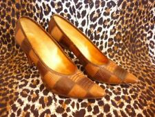 Vintage 1950s Stiletto Heel Shoes Sz 5.5 Reptile Skins Checkerboard Patchwork