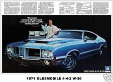 1971 Oldsmobile Cutlass 442 W30 Ad, Refrigerator Magnet, 40 MIL Thick