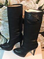 VALENTINO GARAVANI Boots Leather Knee High Black Boots Size 38.5 Au 8
