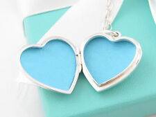 Auth Tiffany & Co Silver Heart Large Locket Necklace 24.25 Inch Oval Link Chain