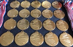 20x Junior Football Medals - Gold Metal With Ribbons + FREE P&P