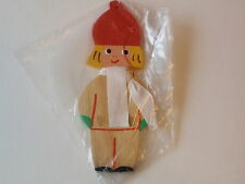 Vintage Hand Painted Wood Dutch Boy Christmas Ornament Red Hat Scarf Hearts MIP