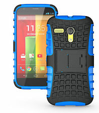 Blue Heavy Duty Tradesman Strong Case Cover Stand For Motorola Moto G 4G LTE