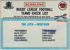 "1977 SCANLENS RUGBY LEAGUE TEAM CHECKLIST CARD: NEWTOWN JETS ""GOOD"""