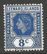 LEEWARD ISLANDS SG133 1954 8c ULTRAMARINE FINE USED