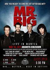"MR. BIG ""LIVE IN MANILA"" 2011 CONCERT TOUR POSTER-Hard/SoftRock,Glam Metal Music"