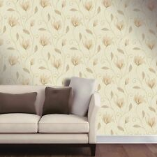 New Soft Gold / Gold Glitter - M0868 - Synergy Floral Textured Vymura Wallpaper!
