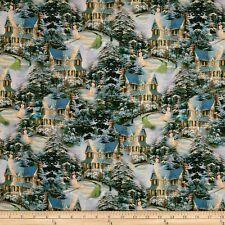 Christmas Fabric - Thomas Kinkade Winter Village Home Allover - Benartex YARD