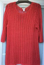 Chicos  Size 3  Sweater/Top/Tunic  Coral  Knit  NEW