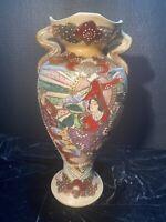 Satsuma Nippon Geisha And Flowers Vase Enamel Japanese