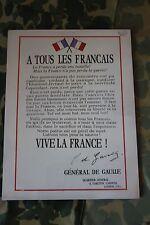 PANNEAU EN BOIS MURALE DE L'AFFICHE DU 18 JUIN 1940 DU GENERAL DE GAULLE WW2