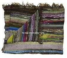 Mat Gym Carpet Chindi Rag Rug Indian Home Floor Decor Yoga Mat Boho Cotton 5'x3'