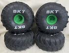 """(4) Grave Digger Monster Jam BKT 10"""" R/C Truck Tires 1:6 Foam Wheels"""