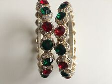 Ladies Mughal White Gold Ruby Red Green Jade Stone Polki Bangle Indian Jewellery