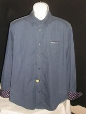 REPLAY MENS BLUE GINGHAM W/FLIP CUFFS  L/S BUTTON FT. SHIRT SZ. M FITTED