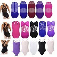 2-14 Aged Girls Gymnastics Ballet Dance Leotard Bodysuit Sports Gym Outfit Tank
