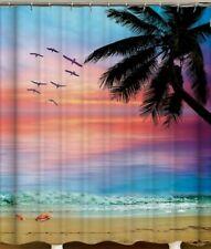 4pc Beach Sunset Waterproof Non-Slip Bathroom Mats and Shower Curtain 180x180cm