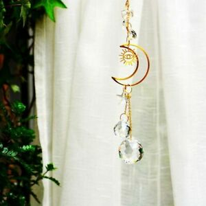 Crystal Glass Prism Suncatcher with Moon Shape and Chain for Home Decoration