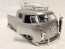 "1963 Volkswagen Micro Bus Pickup w/Surfboard, 8.25"" Diecast 1:24 Jada Toy Silver"