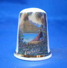 Birchcroft China Thimble -- Travel Poster Series - Tahiti - Free Gift Box
