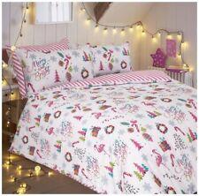Merry and Bright Christmas Flamingo Multi Reversible Duvet Cover Bedding Set