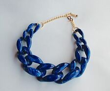 Kenneth Jay Lane Blue Chunky Link Necklace - vintage statement piece