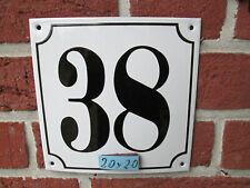 Hausnummer Mega Groß  Emaille Nr 38 schwarze Zahl weißer Hintergrund 20cmx20 cm