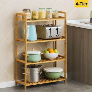 Bamboo 4 Tier Storage Shelving Unit Bedroom Kitchen Rack Stand Bookshelf Freesta