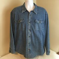 Cabelas Mens Shirt Blue Denim Flanel Lined Long Sleeve XL Free Shipping