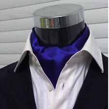 Men Wedding Formal Cravat Ascot Scrunch Ruche Self Neck Tie Solid Royal Blue