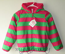 HANNA ANDERSSON Seven Days A Week Reversible Jacket Zing Pink Green 120 6-7 NWT