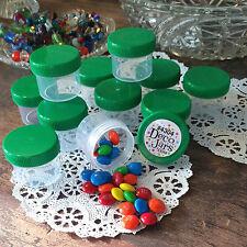 28 Plastic Small Jars Green Caps Container 1 oz  2 tbls Herbal RX 4304 DecoJars