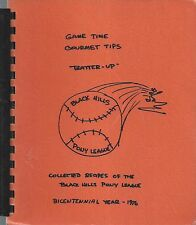 RAPID CITY SD 1976 BLACK HILLS PONY LEAGUE COOK BOOK GAME TIME GOURMET TIPS RARE