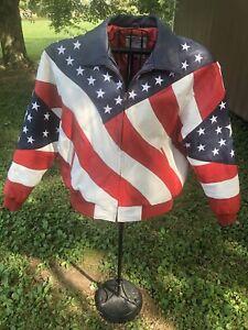 🔥VTG🔥 Michael Hoban WHEREMI Stars & Stripes USA Leather Jacket Size L