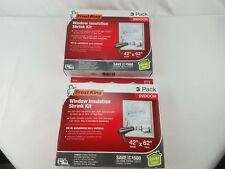"Frost King  Window Insulation Kit 42"" x 62""  3-Pack Clear Shrink Film Lot of 2"