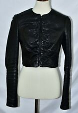 THE ROW  Zip-Front Leather Jacket, Black Size 8