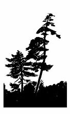"Clear stamp (2.5""x3"") Silhouetted Trees FLONZ vintage acrylic rubber stamps"