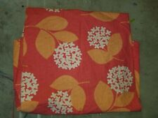 """Company Store """"Red w/White Flowers & Orange Leaves"""" Queen Flat Sheet"""