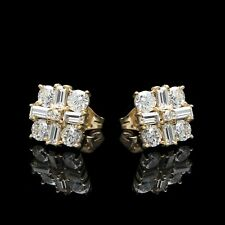 1.50Ct Baguette & Round Created Diamond Square Cluster Earrings 14K Yellow Gold