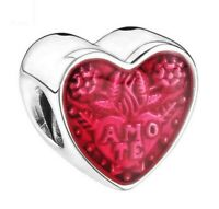 LATIN LOVE CHARM HEART SILVER PLATED CHARM ENAMEL PINK