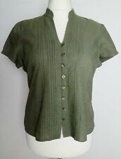 BHS ladies khaki green cotton linen short sleeve fitted top blouse shirt 16