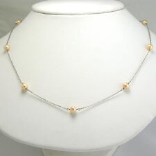"14K SOLID WHITE GOLD PINK PEARL CHAIN NECKLACE 18"" #N161"