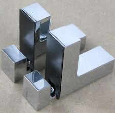 CHROME ADJUSTABLE SUPPORT FIXING BRACKETS FOR ACRYLIC, WOOD OR GLASS F SHAPE
