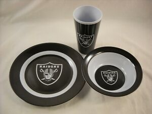 Oakland Las Vegas Raiders Snack Dinnerware Set, Plate, Tumbler, Bowl