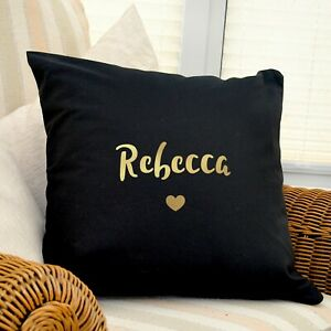 Personalised Gold Name Black Cushion Cover Gift Home Girlfriend Wife Daughter