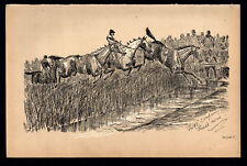 TWO'S COMPANY, THREE'S NONE 1883 Finch Mason Horses LITHOGRAPH